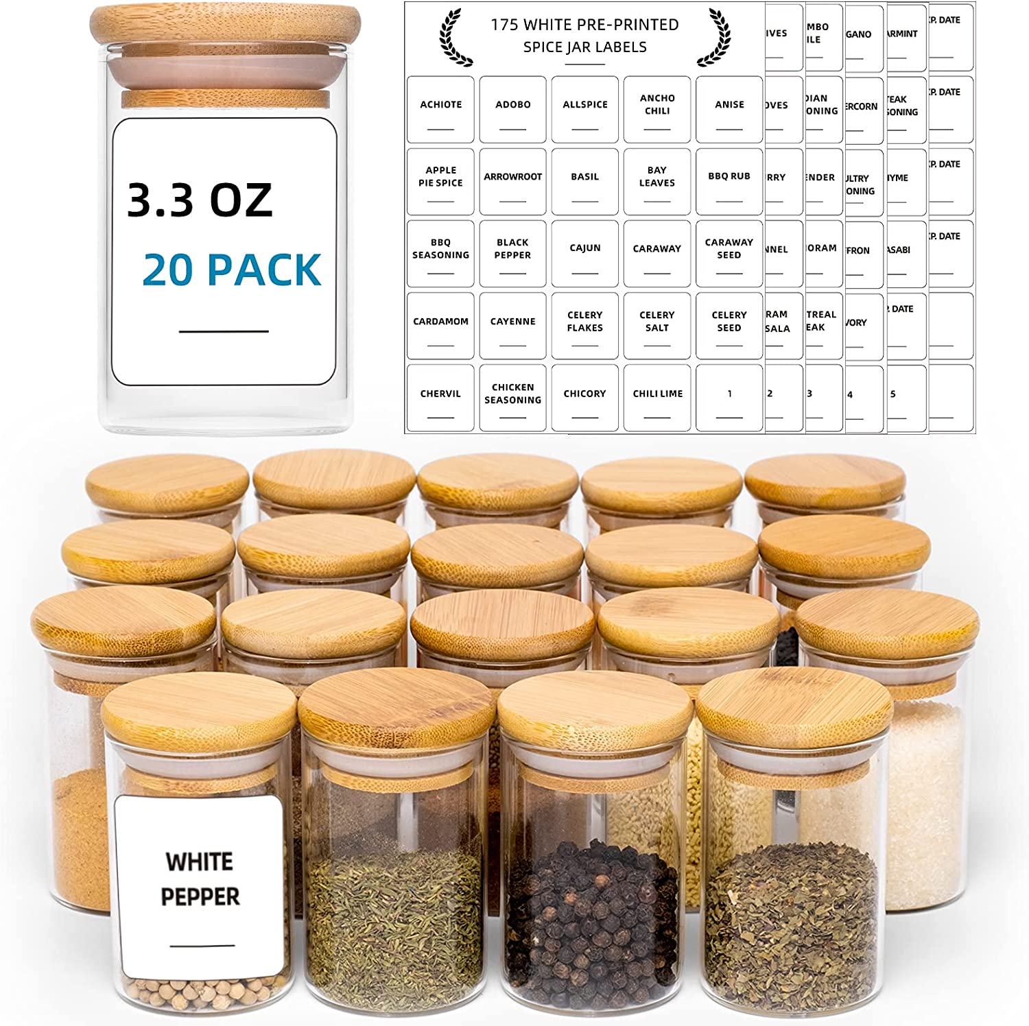 20 Al Cheap mail order specialty store sold out. Pcs Glass Spice Jars with White Labels fl Printed 3.3 -