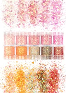 Laza 10 Colors 3.5oz /100g Glitter Nail Art Acrylic Nails Powder Mixed Chunky Sequins Iridescent Flakes Ultra-thin Paillette Sparkles Tips for Cosmetic Face Eyes Body Hair - Pastel Tangerine