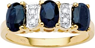 18K Yellow Gold over Sterling Silver Oval Cut Genuine Blue Sapphire and Diamond Accent Ring