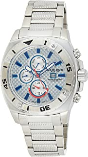 Akribos XXIV Men's Silver Swiss Quartz Dual Time Zone Watch - Diver's Bezel - Carbon Fiber Dial with Date, Month and Day Subdials - Luminous Hands - Brushed Stainless Steel Bracelet - AK652