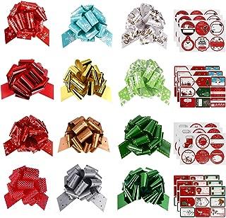 GIKPAL 12 Cintas para Lazos de Adorno Navideños con 90 Etiquetas Adhesivas Decorar Regalos Cintas de Navidad para Etiquetas de Regalos Papel de Regalo y decoración Presente