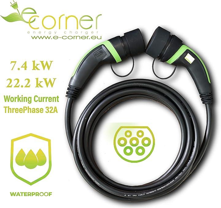 Cavo ricarica auto elettrica versione 2.0 presa tipo 2 - spina tipo 2 | 32a 400v trifase | 5m e-corner E-CORNER-CR-2-2-400-32