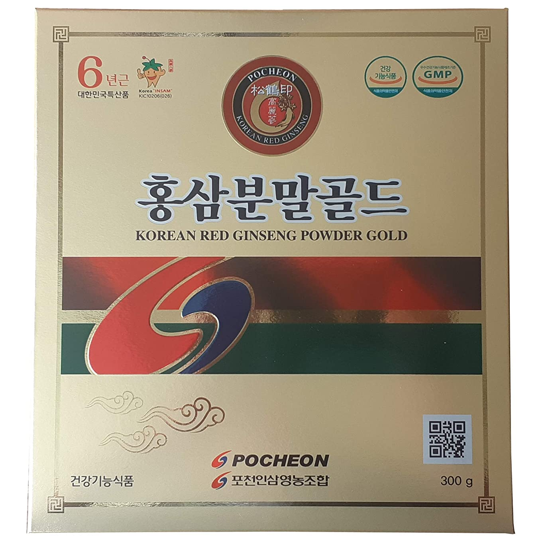 過敏な振り返る布高麗人参 抱川人参営農組合 6年根 高麗紅参粉末 ゴールド 300g 高ジンセノサイド含量
