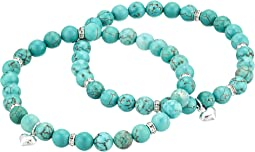 Friendship Stabilized Turquoise Gemstone Duo Bracelet Set