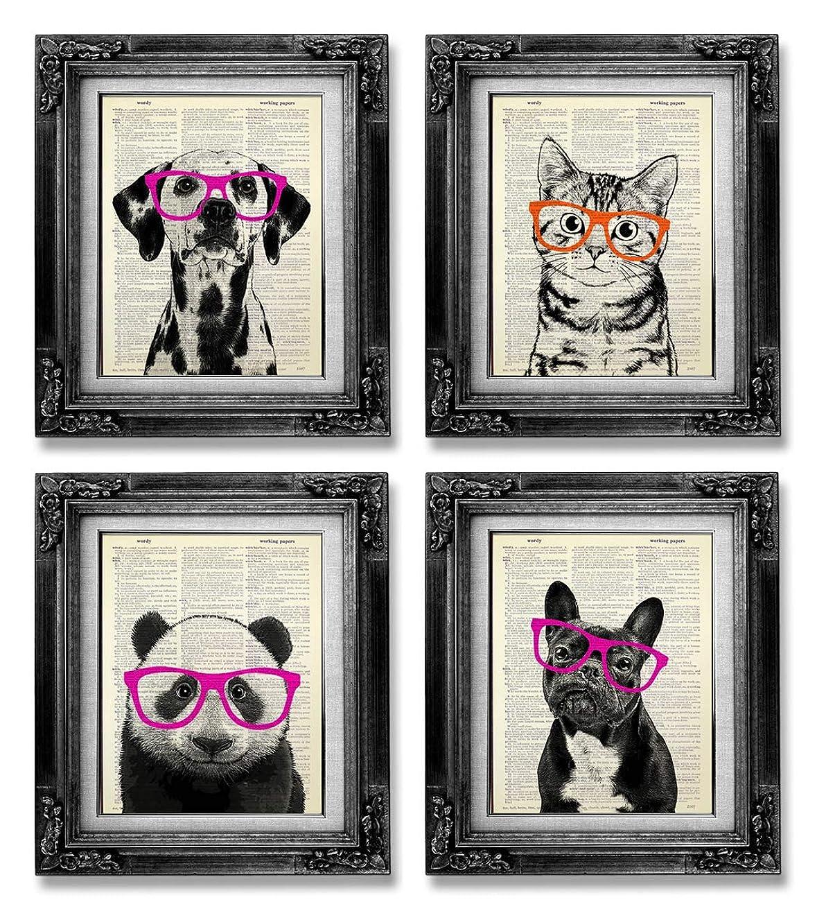 Animal with Glasses Poster Set of 4 Vintage Panda Dog Cat Dictionary Art Print, Funny Kids Room Wall Art, Whimsical Living Room Decor Gift Set, Humor Decoration