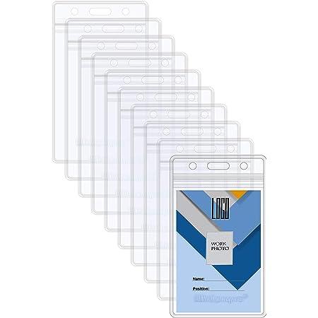 Wisdompro Lot de 20 porte-badges double face 2 emplacements pour cartes étanches et souples en PVC transparent avec fermeture éclair refermable pour plusieurs cartes – verticale