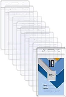 Wisdompro Lot de 20 porte-badges double face 2 emplacements pour cartes étanches et souples en PVC transparent avec fermet...