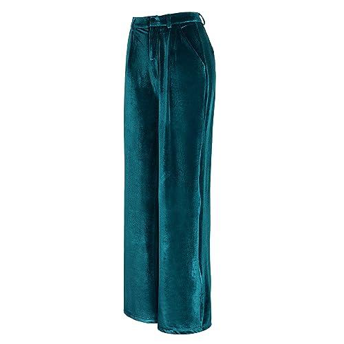 b839d6026bf01 Urban CoCo Women's Vogue Velvet Palazzo Wide Leg Pants