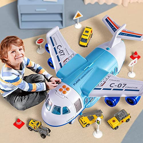 2021 TEMI Mist Spay Storage Transport Plane Cargo with 6 Free high quality Wheel Diecast Construction outlet online sale Vehicles and Playmat, Kids Toy Jet Aircraft with Lights & Sounds for 3 4 5 6 Years Old Boys and Girls online sale