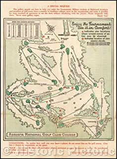 Historic Map - Augusta National Golf Club Course, 1954, Augusta National Golf Club - Vintage Wall Art 18in x 24in