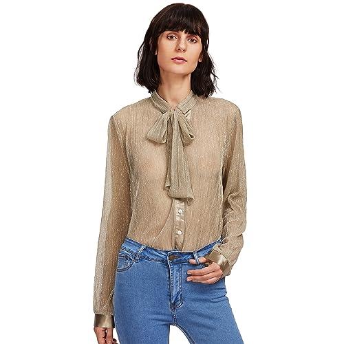 9af857038268b WDIRARA Women s Sheer Long Sleeve Tie Neck Work Button Up Mesh Blouse Tops