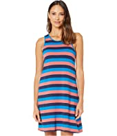 Bella Dress - Blue and Coral Stripes