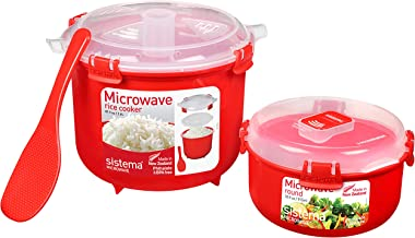 Sistema 82001 Microwave Rice Cooker (2.6L) & Round Microwave Food Container (915ml) | BPA-Free, Red/Clear