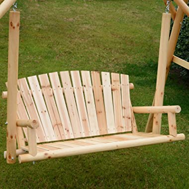 Outsunny 6.5' Outdoor Rustic Loveseat Solid Wood Natural Log Garden Swing Natural