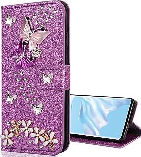 Nadoli Bling Custodia per Samsung Galaxy A02S,Diamante Bling Pelle Portafoglio Chiusura Magnetica Slot per Schede Farfalla...