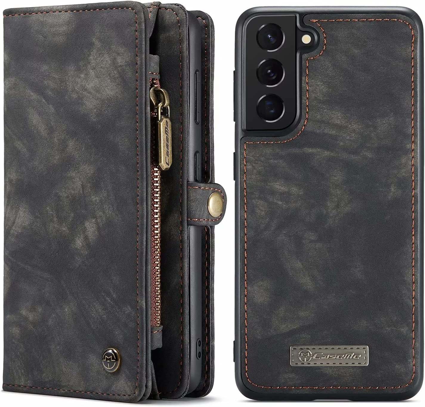 Arlgseln Case for Samsung Galaxy S21 FE, Genuine Leather Wallet Detachable Magnetic Cell Phone Cover Zipper Purse RFID Blocking Card Slot Holster for Samsung Galaxy S21 FE 2021 (Black)