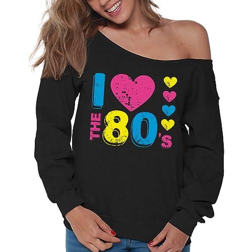 4cb2dda9fb4 Vizor Women s I Love The 80 s Off Shoulder Tops Sweatshirts 80s Party 80s  Costume 80s Disco