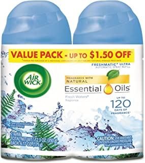 Air Wick Pure Freshmatic 2 Refills Automatic Spray, Fresh Waters, 2ct, Air Freshener,..
