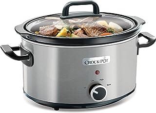 Crock-Pot CSC025X Olla de cocción lenta manual para preparar multitud de recetas, 210 W, 3.5 litros, Cromado, Plateado
