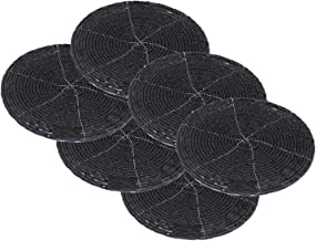 SKAVIJ Glass Beads Tea Coasters Set of 4 for Home and Office Desk (Dia - 4 Inch, Black)