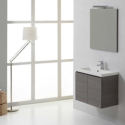 Mobile Bagno 60 Cm Con Due Ante Manhattan Grigio Sospeso Amazon It Casa E Cucina