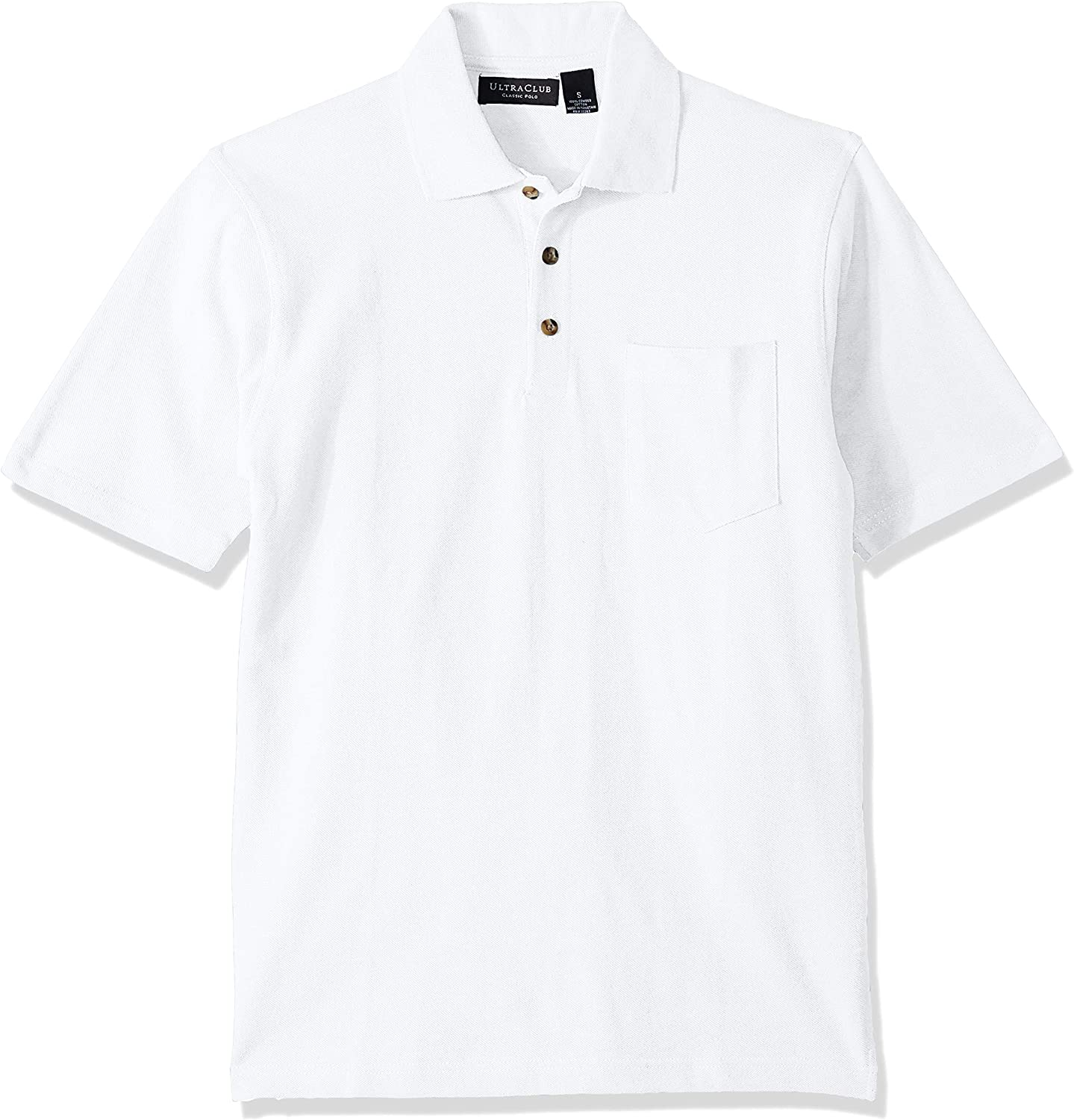 UltraClubs Mens ULTC-8534-Classic Piqu/é Polo with Pocket White X-Large