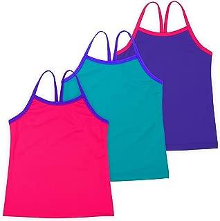 Lucky & Me | Ella Girls Dance Tank Top | for Gymnastics & Dancewear | 3-Pack | Tagless for Comfort | Multicolor