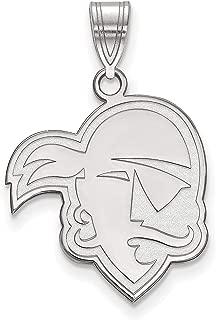 Seton Hall University Pirates School Mascot Head Pendant in Sterling Silver 20x18mm