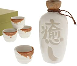 Kotobuki 120-616 White with Gold Drip Glaze Iyashi-Healing Sake set with four cups