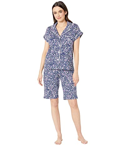 LAUREN Ralph Lauren Notch Collar Bermuda Shorts Pajama Set (Navy Floral Print) Women