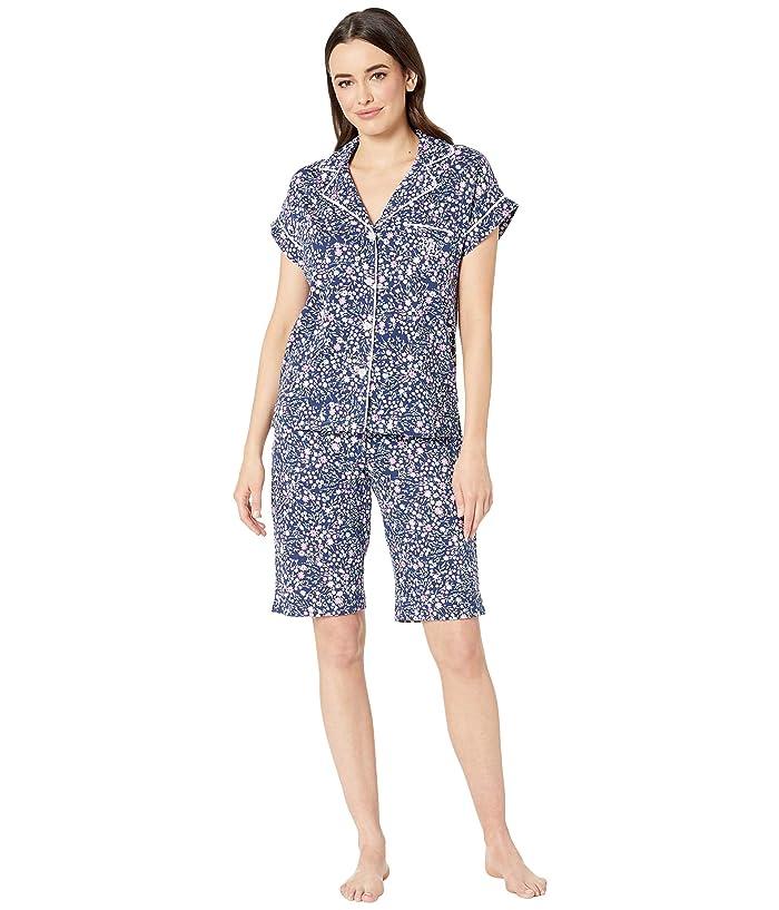 LAUREN Ralph Lauren Notch Collar Bermuda Shorts Pajama Set (Navy Floral Print) Women