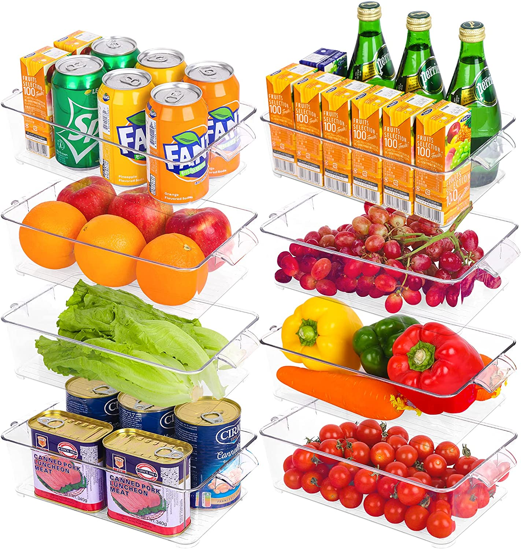 Refrigerator Organizer Bins, 8 Pack Pantry Organization and Storage, Fridge Organizer with Handle, Eco-friendly Clear Plastic Storage Bins for Fridge, Freezer, Kitchen, Cabinets, Countertops