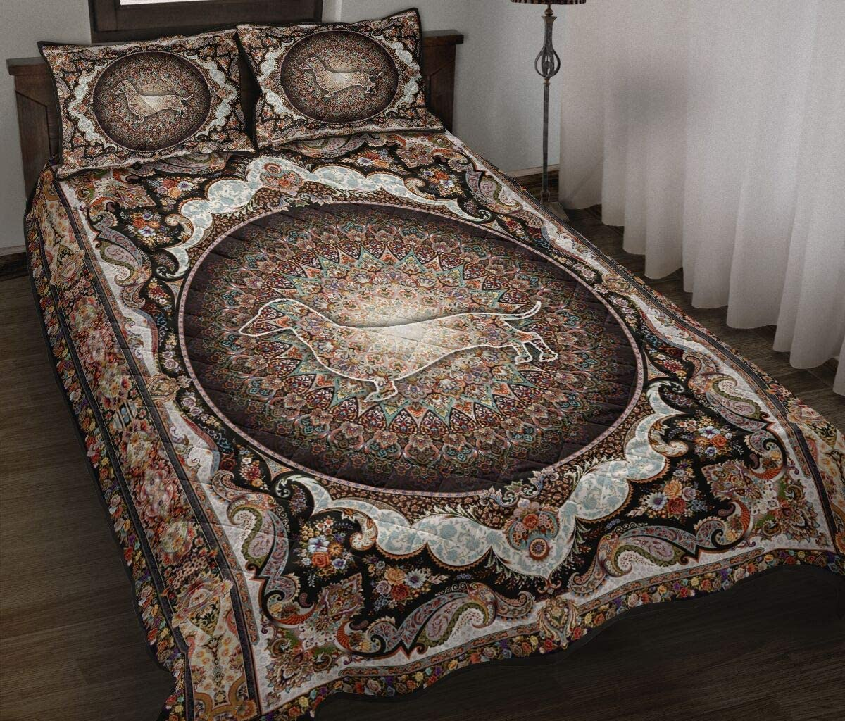 Dachshund with Mandala Quilt Bed supreme Set Sets Quilts shipfree Bedding