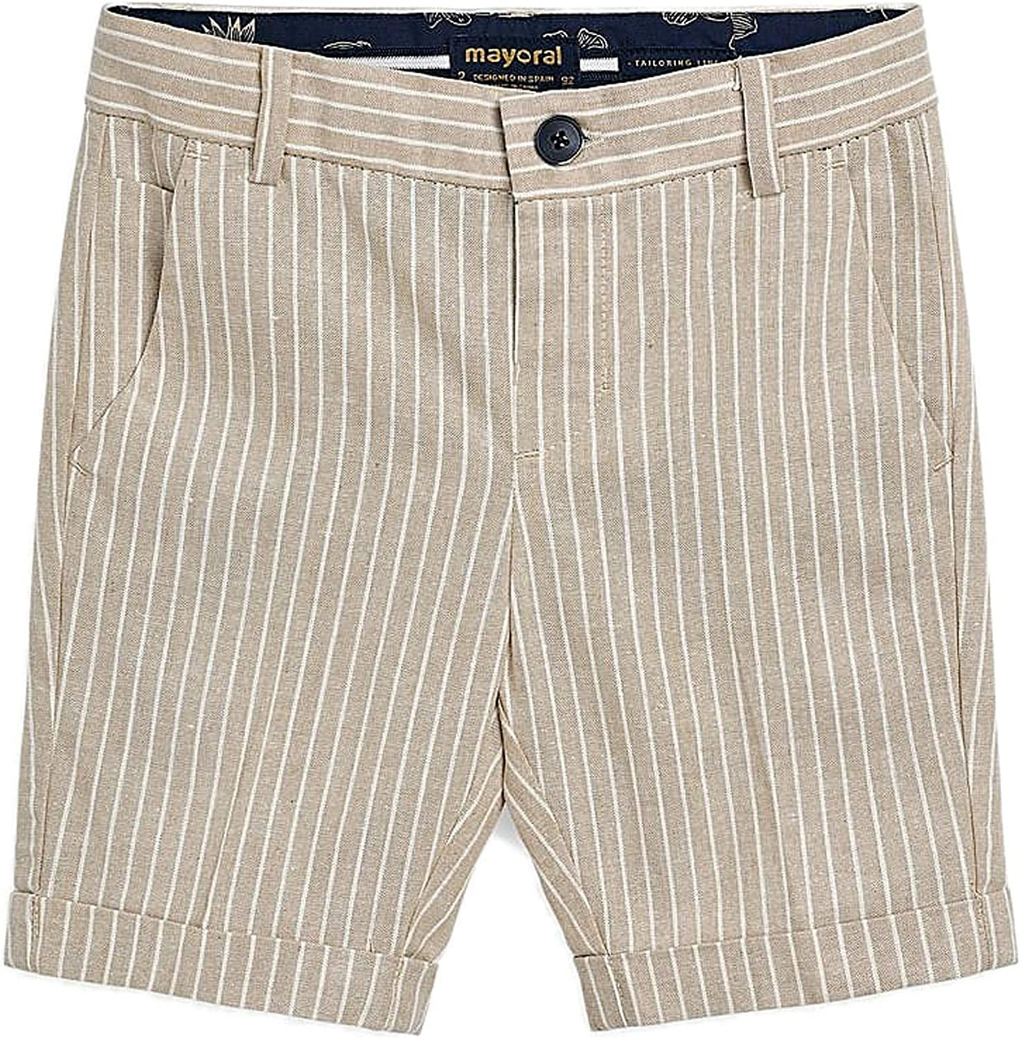 Mayoral - Tailored Linen Shorts for Boys - 3253, Parchment