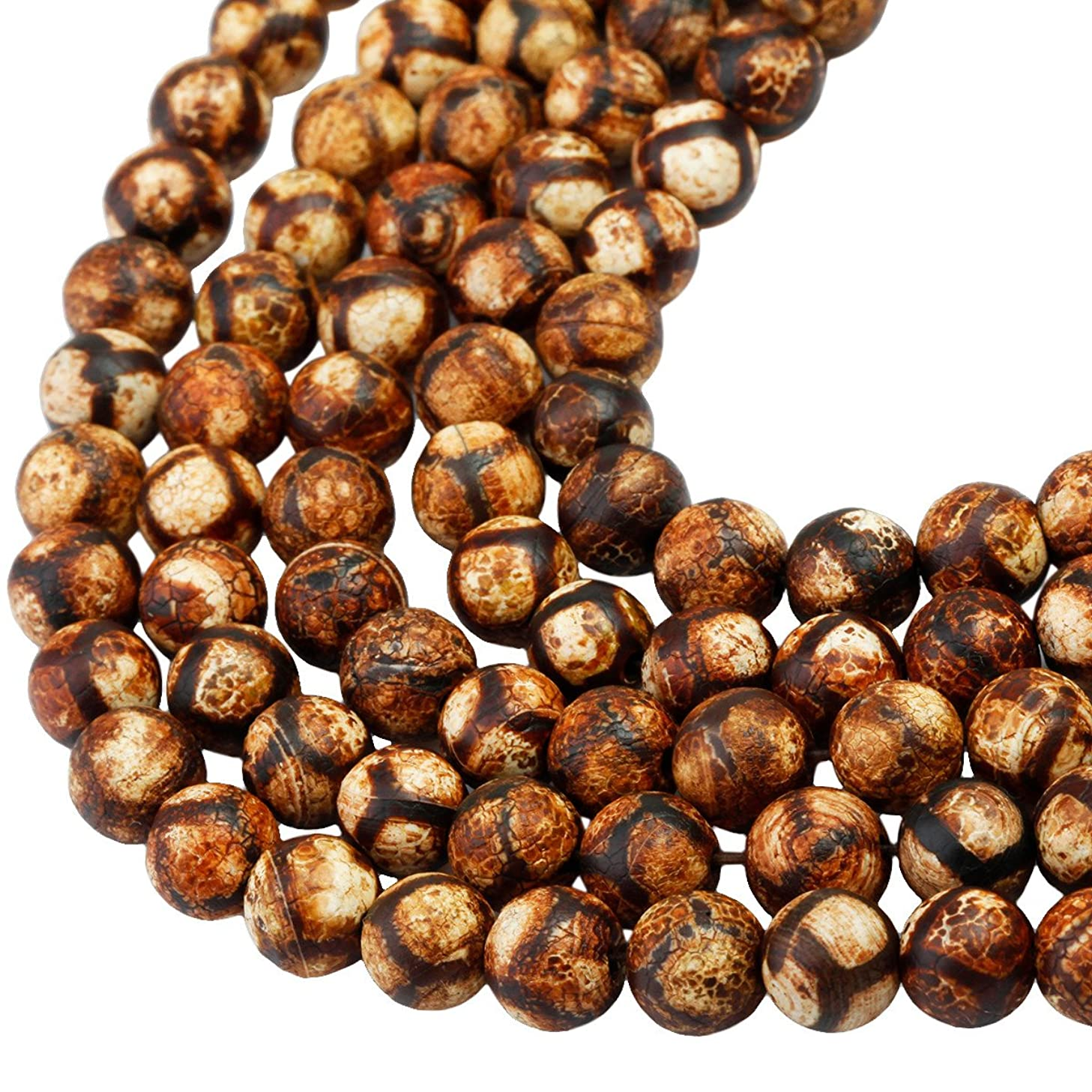 SUNYIK Vintage Brown/Tan Striped Agate Loose Bead Stone for Jewelry Making 8mm Round 14