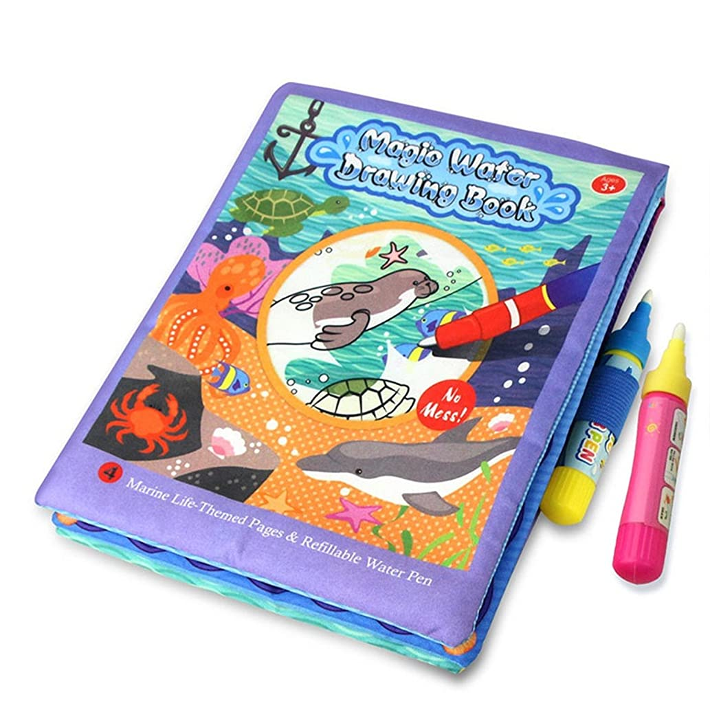 1 Pcs Funny Magic Water Drawing Book Marine Life-Theme Reuseable Painting Book with 2 pens Recognize Education