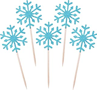 TOODOO 60 Pack Snowflake Cupcake Toppers Glitter Snowflake Cake Topper Picks for Christmas Birthday Party Baby Shower Wedding Cake Decoration (Blue)