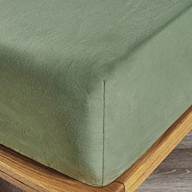 """JELLYMONI 100% Washed Cotton Green Fitted Sheet, Queen Bed Sheet Extral Deep 16"""", Ultra Soft Breathable Deep Pocket, 1- Piece"""