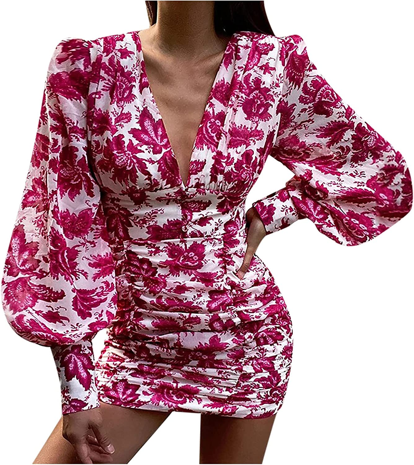 GCETTIC Dresses for Womens, Casual Women's Tie Dye Print Tight Dress V-Neck Long Sleeve Cocktail Wedding Party Mini Dress