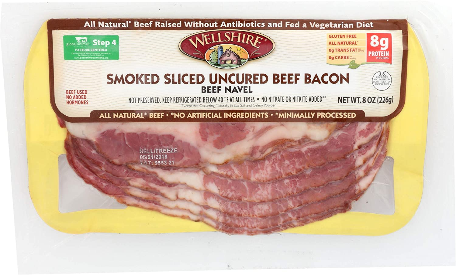 Wellshire Farms latest Pasture-Raised Uncured Smoked Bacon 40% OFF Cheap Sale 8 Beef oz