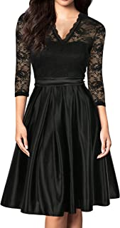 Women Vintage 1930s Style 3/4 Sleeve Black Lace A-line Party Wedding Dress
