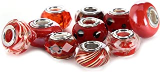 BRCbeads Top Quality 10Pcs Mix Silver Plate RED THEME Murano Lampwork European Glass Crystal Charms Beads Spacers Fit Troll Chamilia Carlo Biagi Zable Snake Chain Charm Bracelets.