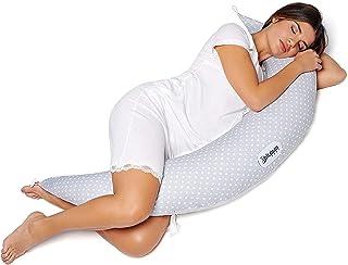 Dilamababy Almohada Embarazada para Dormir Cojin Lactancia en Copos de Memory y Waterfoam Almohada Embarazo Viscoelastica Multifuncional Ideal para Mama y Bebé Tela 100% Algodón Certificado Oeko-Tex