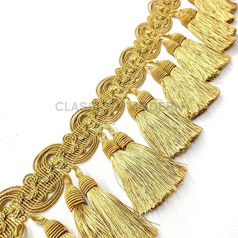 3 Yards // Isabelle Vintage Gold 3 1//2 Beaded Tassel Fringe Trim // Drapery Gold Home Decor Pillows Upholstery