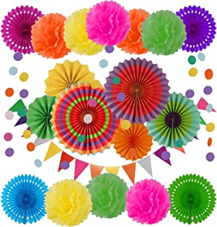 GuDez 21 Pieces Party Decoration,Including Hanging Paper Fans,Paper Pom Poms Flowers Garlands,String Circle Dot Garlands and Triangle Bunting Flags Party Supplies for Mexican Fiesta Party Decoration