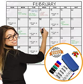 Jumbo Dry Erase Laminated Wall Calendar, Huge 36-Inch by 48-Inch Size, Monthly Planner for Home Office Classroom, Large Date Boxes, Reusable PET Film, Never Folded, Bonus 5 Markers, 8 Tacks, 1 Eraser