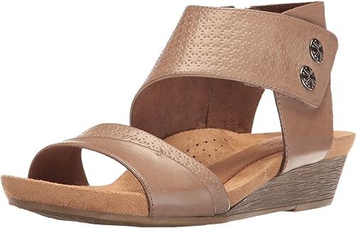 Cobb Hill Femmes Sandales Compensées Couleur Beige Khaki Vintage Taille 38.5 EU