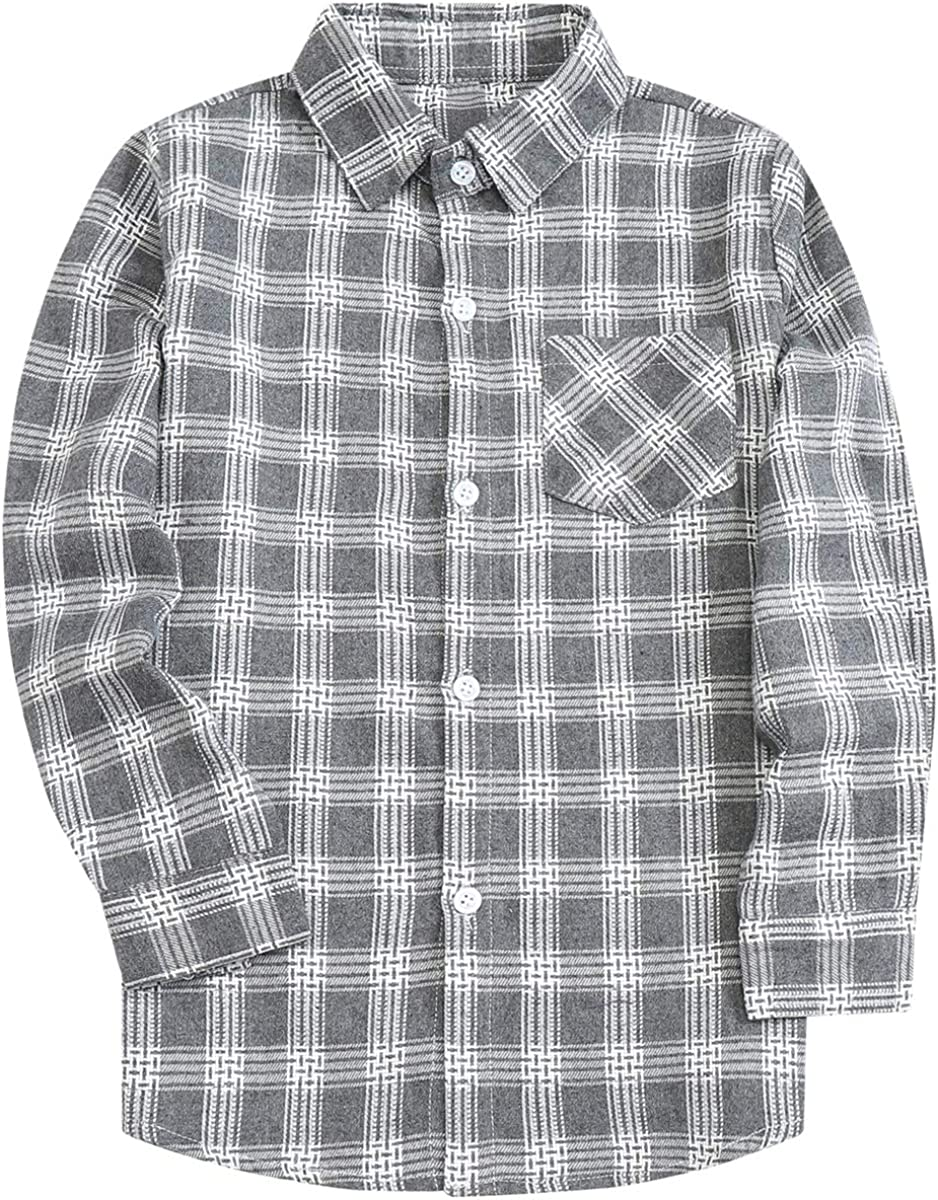 Little Big Boys' Long Sleeves Button Down Plaid Flannel Shirt Tops Light Gray Plaid, 7-8 Years = Tag 140