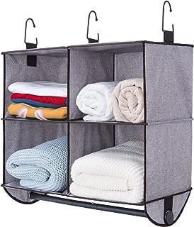 StorageWorks 4 Section Hanging Closet Organizer with Metal Garment Rod, Polyester Canvas Closet Storage Organizer, Gray, 24