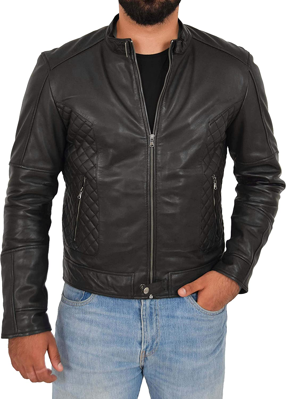 Zip Fasten Mens Genuine Soft Black Leather Biker Jacket Latest Style Coat Jerry